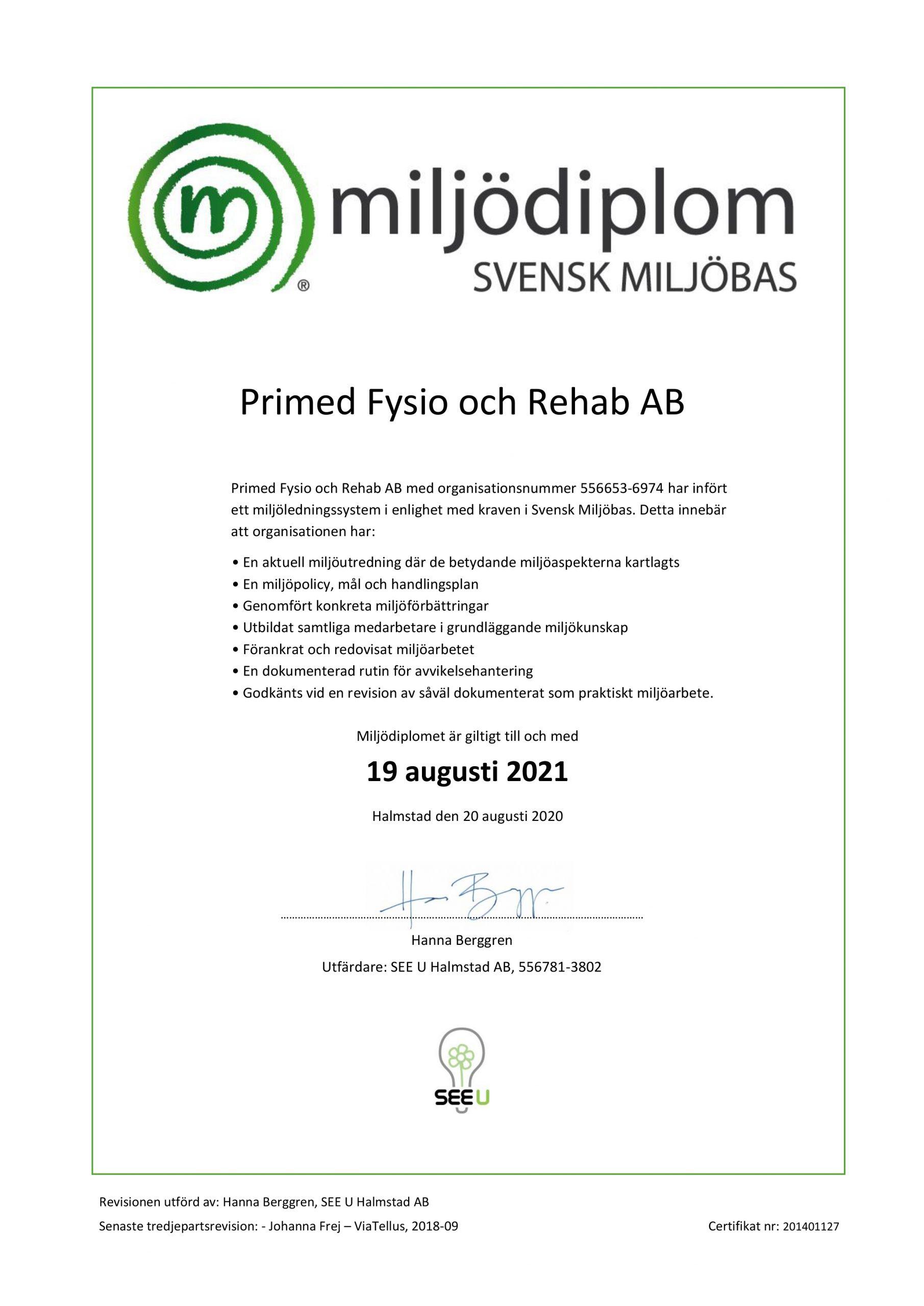 Miljödiplom Primed 2020_08